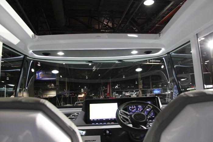 Axopar 28 cabin windshield inside view