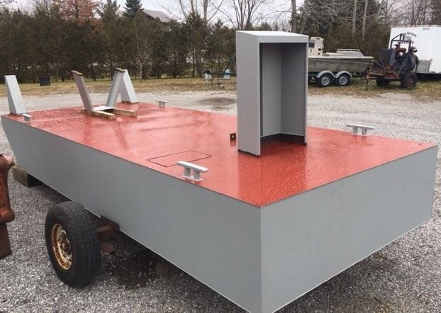 2021 8' x 20' Steel Push Boat c/w push knees, console, motor bracket Photo 3 of 3
