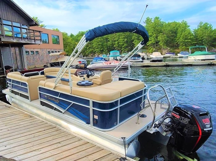 2019 Godfrey Sweetwater Pontoon&Mercury Motor (Package) 2286 Cruise - Metallic Navy w/Navy & Vapor Blue Photo 2 of 34