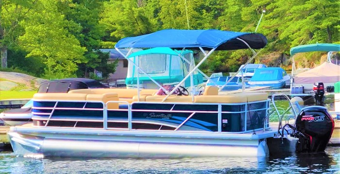 2019 Godfrey Sweetwater Pontoon&Mercury Motor (Package) 2286 Cruise - Metallic Navy w/Navy & Vapor Blue Photo 18 of 34