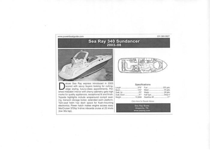 2006 Sea Ray Sundancer 340 Photo 11 sur 11