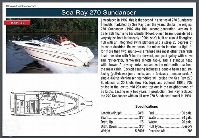 1993 Sea Ray 270 Sundancer Photo 13 of 14