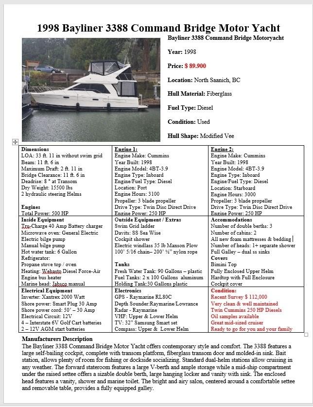 1998 Bayliner 3388 Command Bridge Motor Yacht Photo 19 of 19