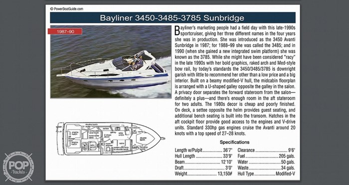 1989 Bayliner 3485 Avanti Sun Bridge Photo 10 sur 11